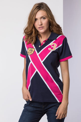 Navy - Ladies Royal Double Cross Polo Shirt