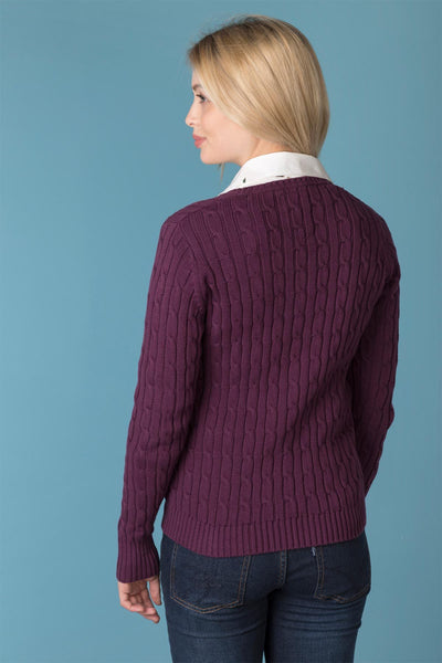Berry - Ladies V Neck Cable Knit Sweater
