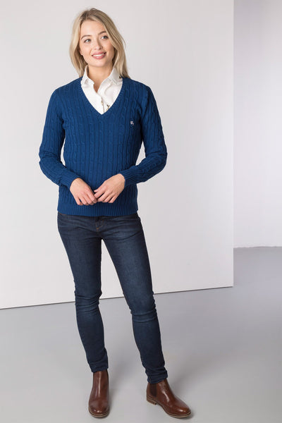Dark Denim - Ladies V Neck Cable Knit Sweater