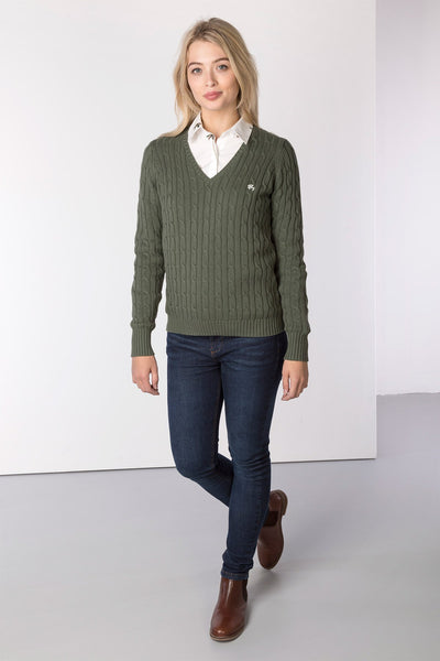 Sage - Ladies V Neck Cable Knit Sweater
