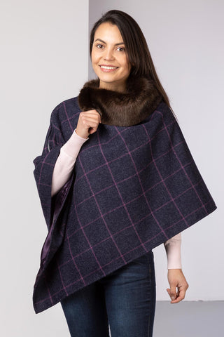 Wool Tweed Poncho With Faux Fur