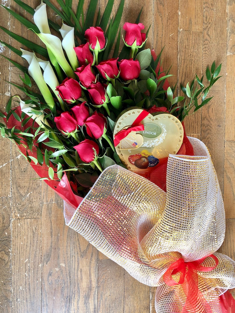 RED ROSES WITH CALLA LILIES & CHOCOLATES
