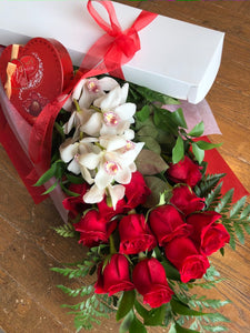 RED ROSES WITH ORCHIDS & CHOCOLATES (BOXED)