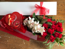 Load image into Gallery viewer, RED ROSES WITH ORCHIDS & CHOCOLATES (BOXED)