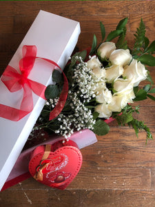 1 DZ. WHITE ROSES WITH CHOCOLATES - BOXED