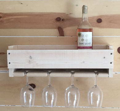 White Pine Wall Mounted Wine Rack