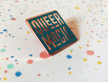 Load image into Gallery viewer, Dark Teal Queer Magic Pin