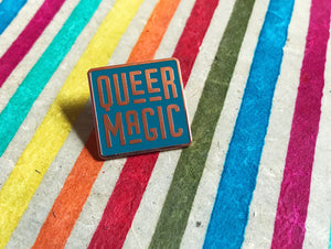Dark Teal Queer Magic Pin
