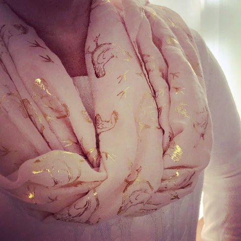 Hen Print Scarf - Light Peach with Gold Print