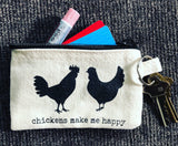 Chickens Make Me Happy Canvas Keyring Pouch
