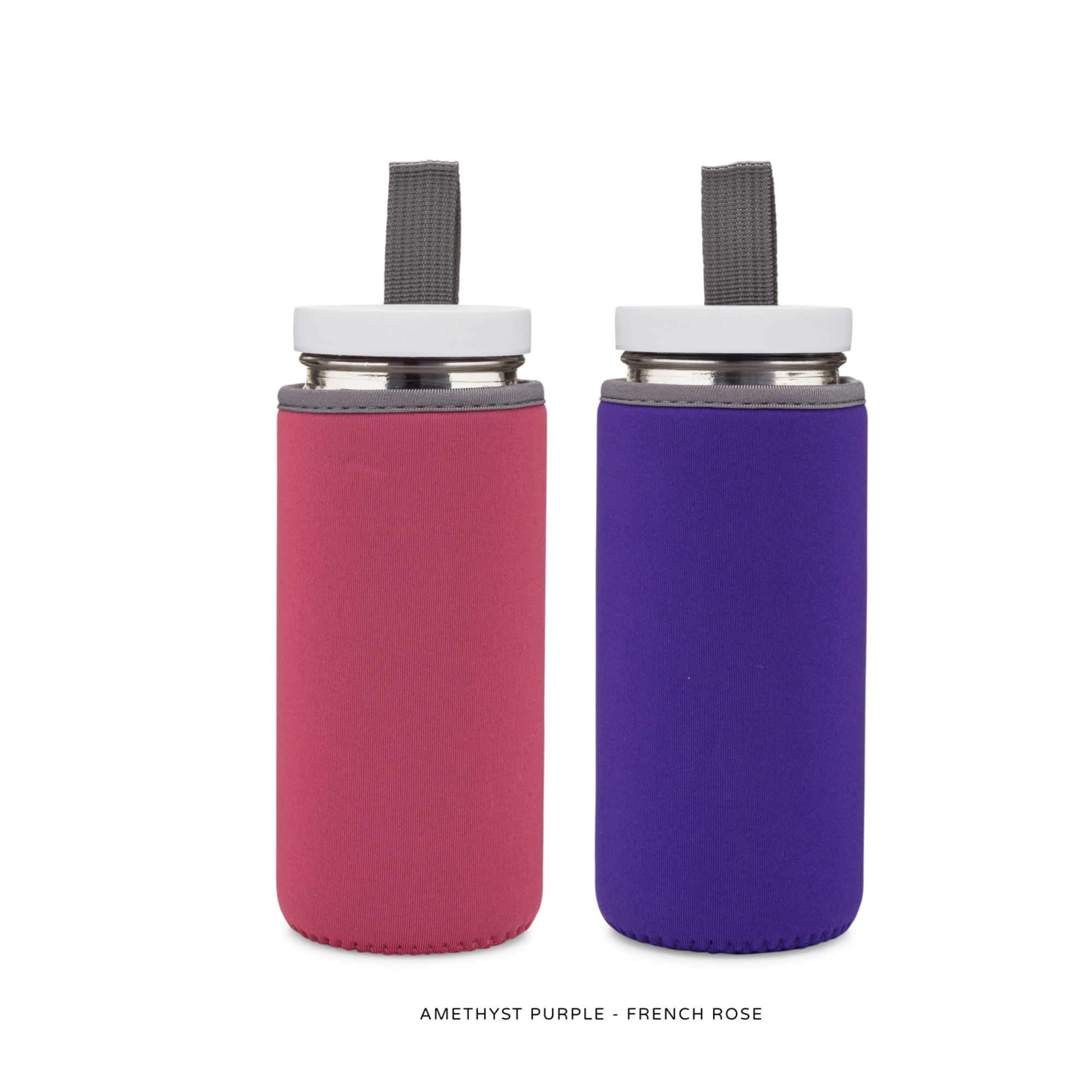 Reusable Glass Water Bottles with Neoprene Sleeves - 2 Pack - For Juice, Smoothies, Beverage Storage