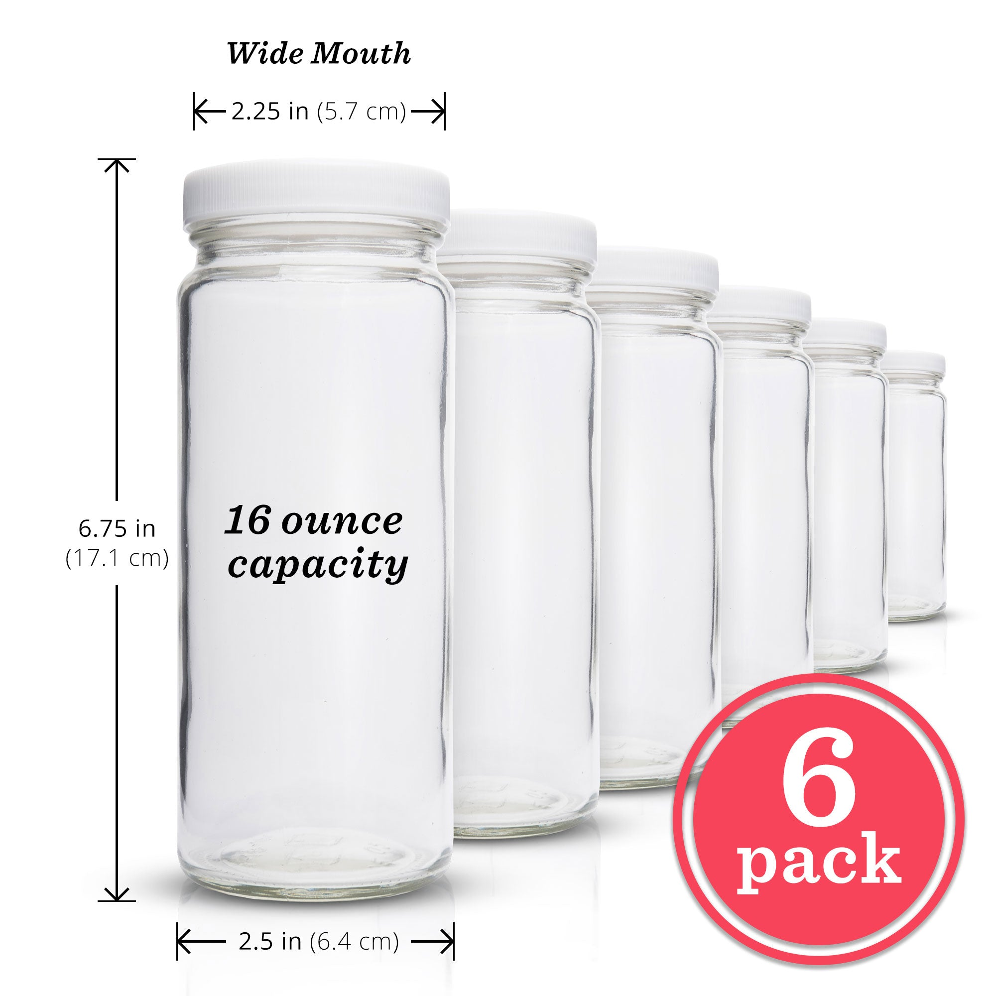 Original Series Wide Mouth Glass Bottles (White Lids)