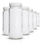 Juice Bottles Set - Original Series - Wide Mouth with White Lids for Juice, Smoothies, Beverage Storage