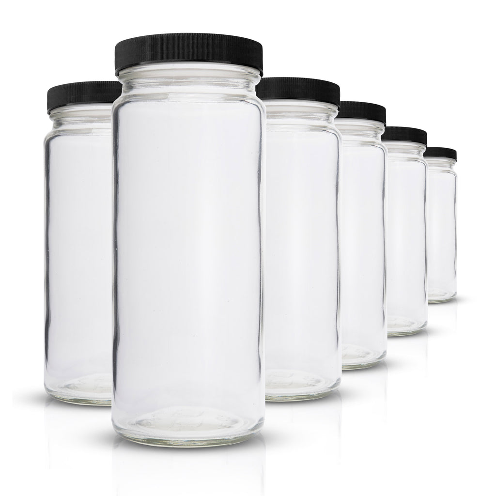 Glass Bottles Set - Original Series - Wide Mouth with Black Lids - 6 Pack