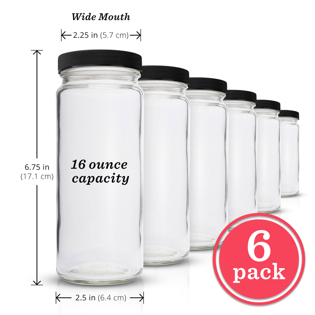 Original Series Wide Mouth Glass Bottles w/ Black Lids & Silicone Liner