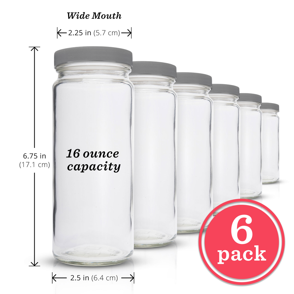 Original Series Wide Mouth Glass Bottles w/ Grey Lids & Silicone Liner, 16 oz