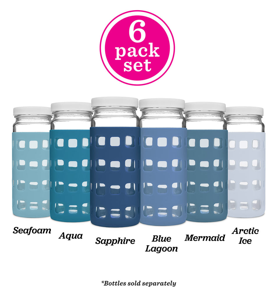 Geometric Cube Silicone Bottle Sleeves Set (Ocean Blues)