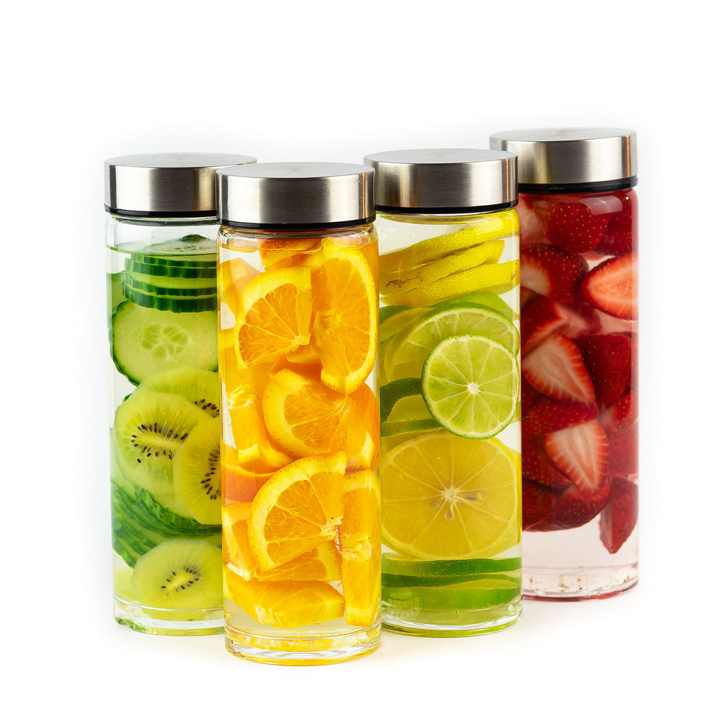 Glass Water Bottles with Infused Water