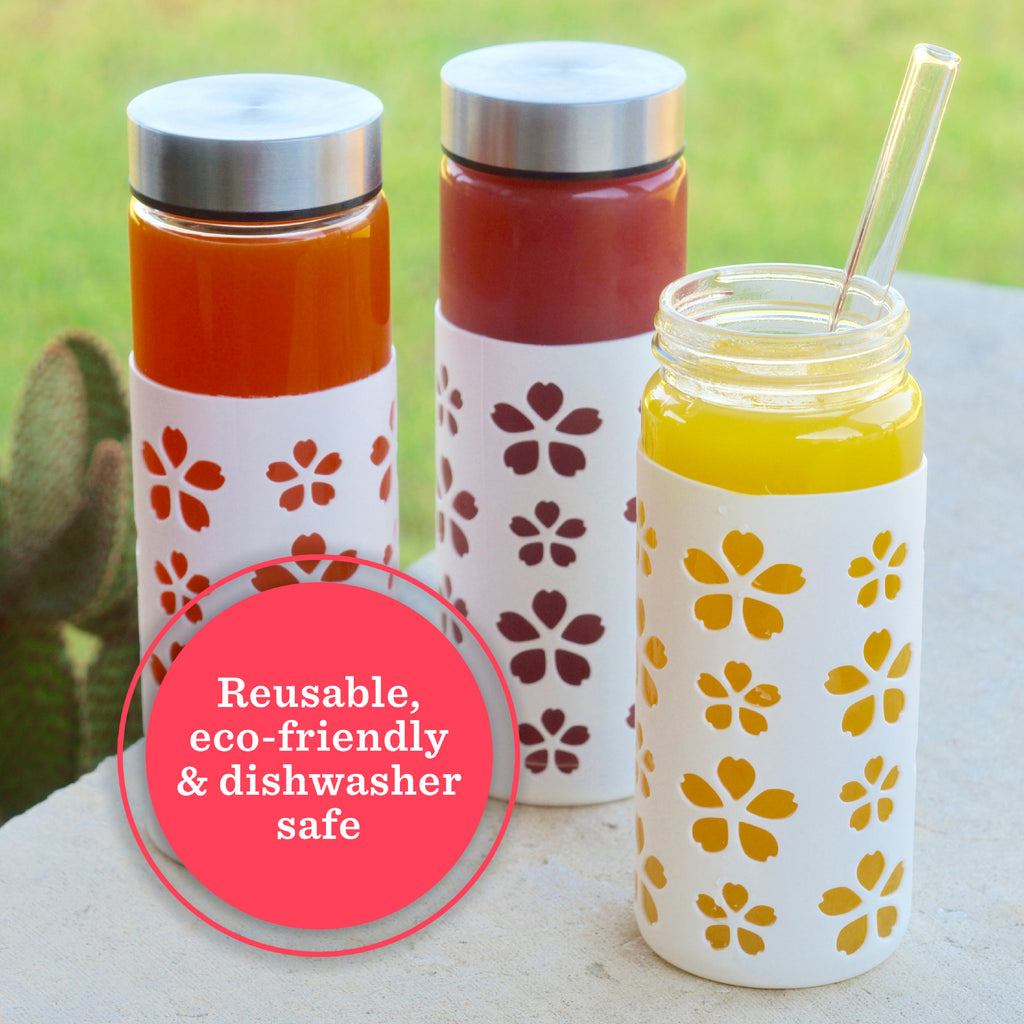 Flower Petals Silicone Protective Bottle Sleeves Set (White)