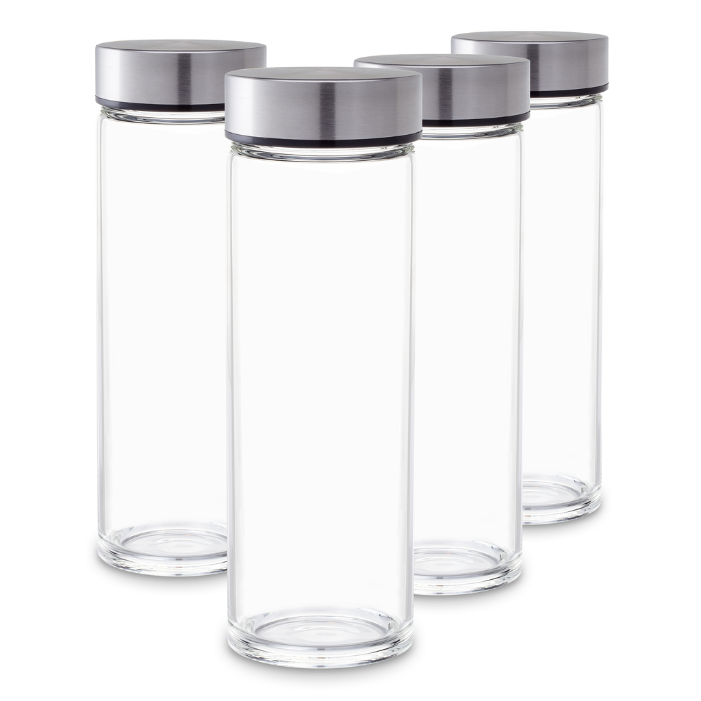 Glass Bottles Set - Skinny Series - Wide Mouth with Stainless Steel Lids - 4 Pack