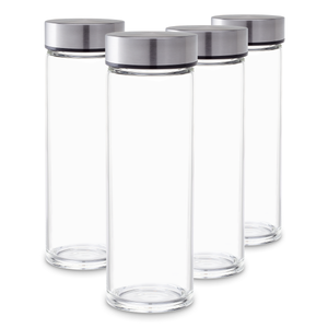 Reusable Glass Water Bottle Set - Wide Mouth with Stainless Steel Lids for Juice, Smoothies, Beverage Storage, 16 ounce