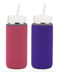 Reusable Glass Water Bottles with Neoprene Sleeves, Straw Lids, Straws - 2 Pack Tumbler- For Juice, Smoothies, Beverage Storage