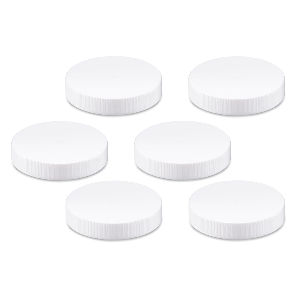 White Replacement Lids for 16 Ounce Wide Mouth VAS Exclusive Beverage Bottles - 6 pack caps