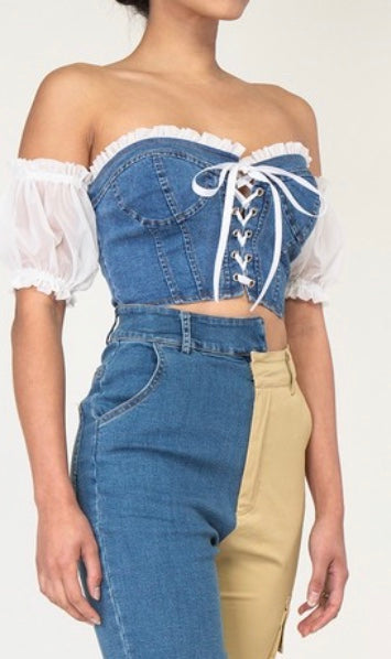 Damsel Denim Corset Top