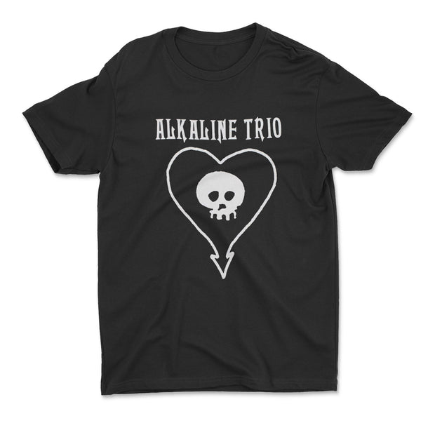 alkaline trio heart skull logo on a black cotton t-shirt