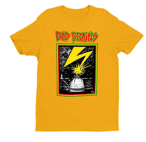 Hardcore punk rockers Bad Brains capitol artwork printed on the front of an officially licensed orange shirt