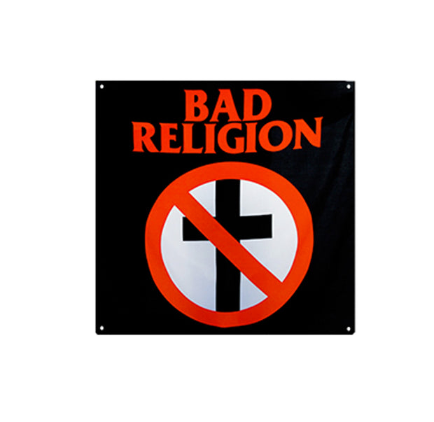 Bad Religion cross busters logo printed on a large black vinyl flag