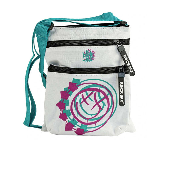 Blink 182 Smiley Logo White Crossbody Bag