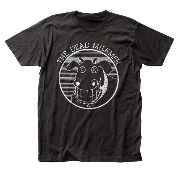 The Dead Milkmen cow logo graphic printed on a 30/1 cotton tee.