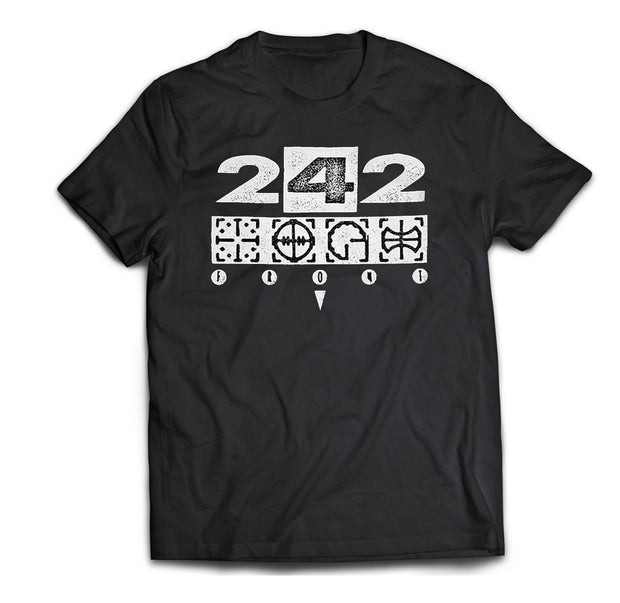 Classic Front 242 Target Logo printed on a black cotton shirt