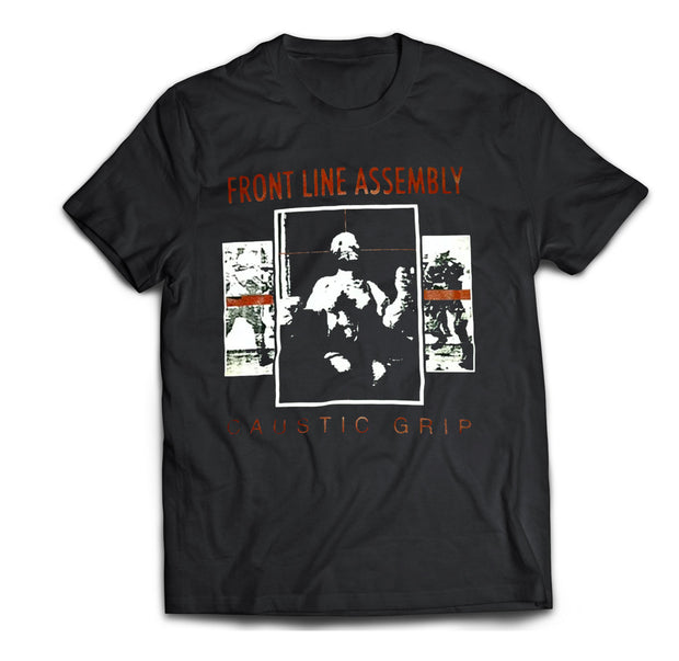 Front Line Assembly Caustic Grip album artwork printed on a black cotton t-shirt