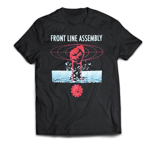 Front Line Assembly original Virus single artwork printed on a black cotton t-shirt