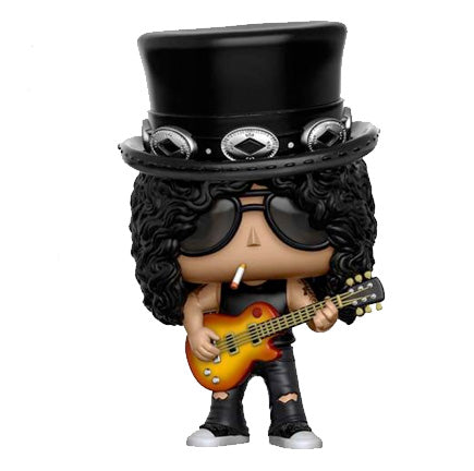 Rocker Slash of Guns n Roses Funko Pop vinyl figure holding his guitar and smoking a cigarette with his famous top hat