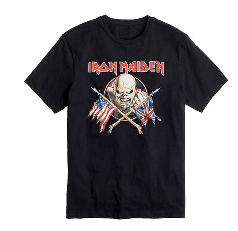 Iron Maiden Eddie Crossed Flags Shirt