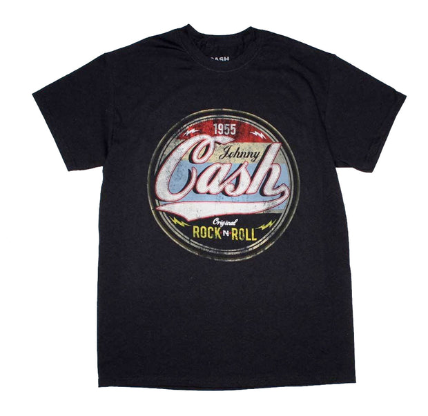Antique style Johnny Cash Original Rock n Roll 1955 design printed on a black cotton tee.