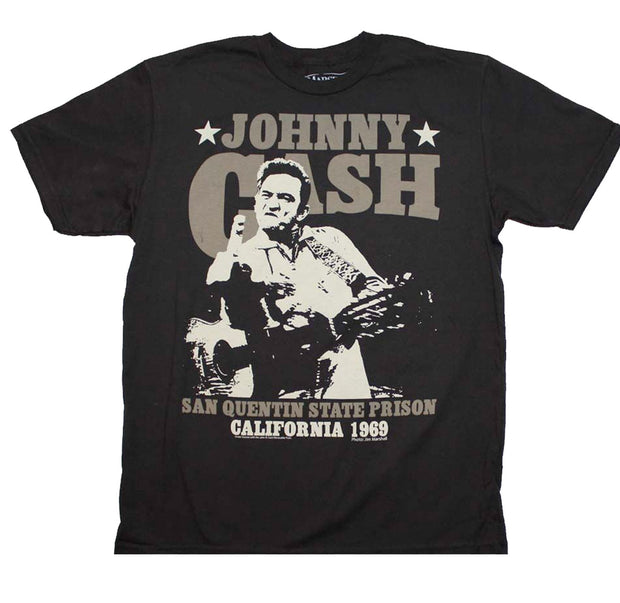 Johnny Cash San Quentin California 1968 design printed on a 30/1 cotton tee.