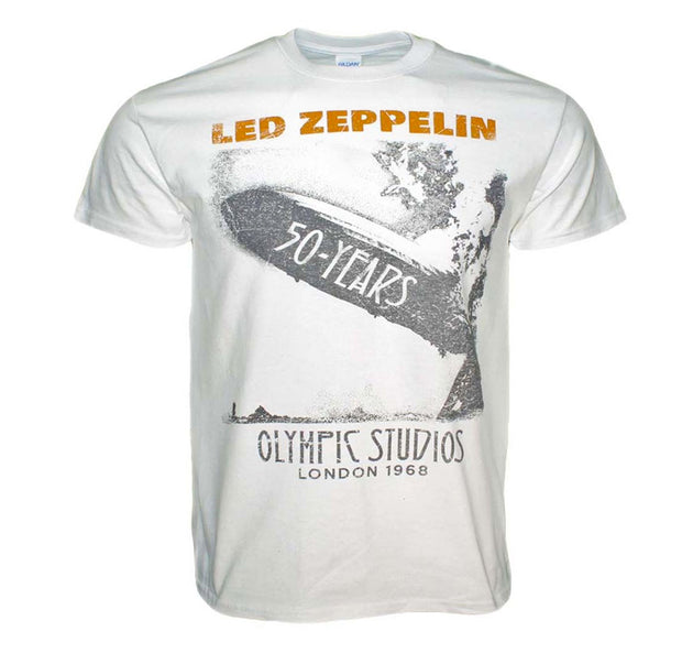 Awesome tee celebrating the 50th Anniversary of Led Zeppelin. Features the iconic blimp with Olympic Stadium 1968 text.