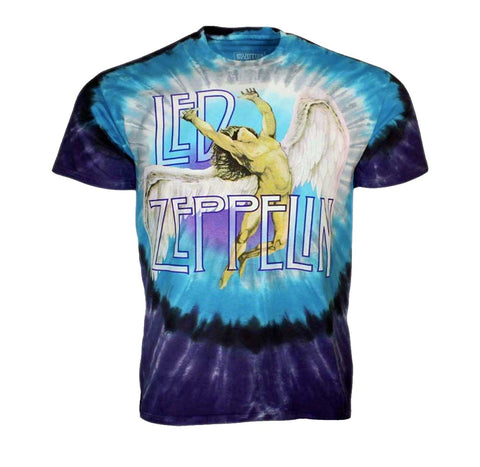 Amazing Swan Song Led Zeppelin artwork printed on a unique tie dye t-shirt