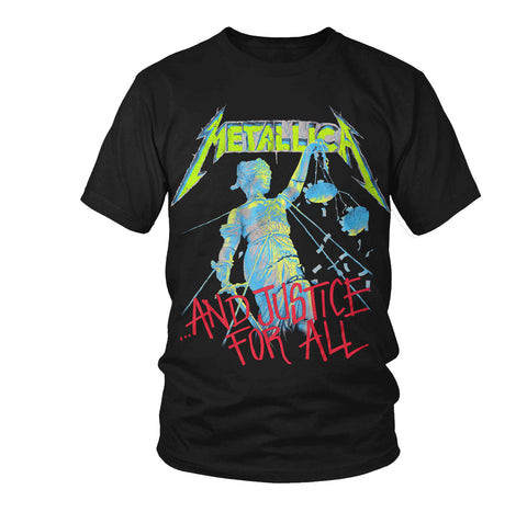 Rock band Metallica Neon And Justice for All T-shirt