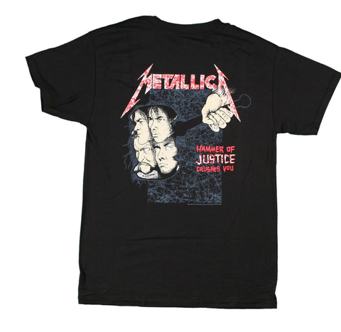 "Metallica Harvester of Sorrow Damaged Justice tee. ""Hammer of justice crushes you"""
