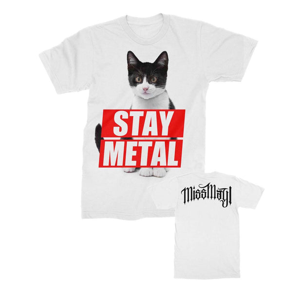 Stay Metal cat Miss May band shirt in white
