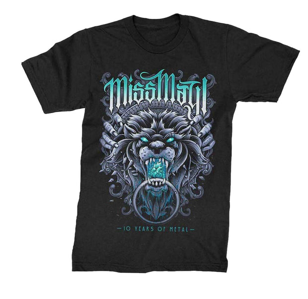 Black rock shirt with Miss May I 10 years of Metal Lion on front