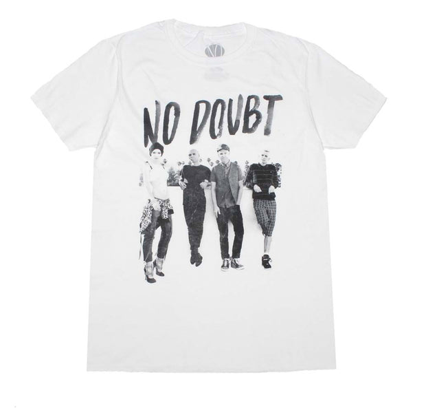 No Doubt band photo rooftop white shirt