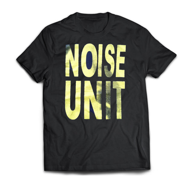 Noise Unit shirt with large yellow logo printed on front.