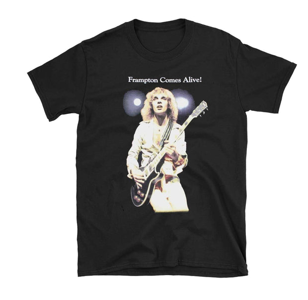 Peter Frampton Comes Alive album artwork printed on a black cotton t-shirt