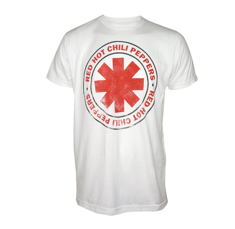 Distressed Red Hot Chili Peppers white tee with red asterisk logo